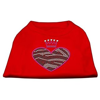 Mirage Pet Products Zebra Heart Rhinestone Dog Shirt, Medium, Red