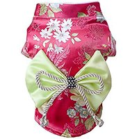 TOPSUNG Brocade Japanese Kimono Pet Costume Bowknot Rose Dog Dress For Dogs / Cats, Size S