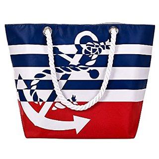 Soonyean Oversized waterproof beach tote bag with Cotton Rope handle (Red)