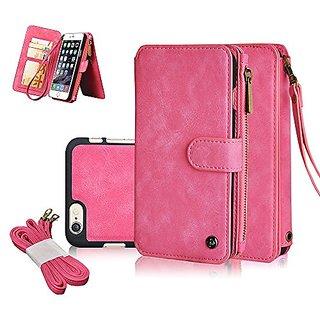 iPhone 6S Case ,CORNMI Multi Functional Leather Handbag Zipper Pocket Flip Leather Wallet Case with 14 Crad Slot and Wri