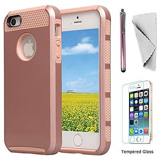 IPhone 5s Case 5g Se KXLY 2 in 1 Hybrid Heavy Duty Protective Cover Hard PC Rugged Soft TPU Dual Layer With Tempered Gla