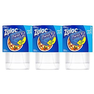 Ziploc Twist N Loc Container, Medium, 6 Count