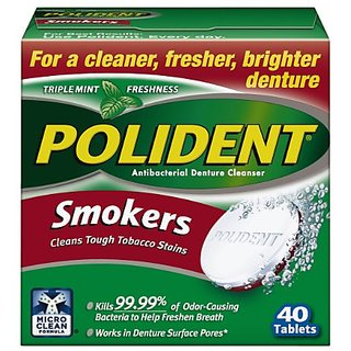 Polident Smokers Denture Cleanser, 40 Count