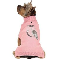 Zack & Zoey Elements Shimmer Owl Sweater For Dogs, Pink, Large