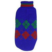 Uxcell Knitting Rhombus Print Turtleneck Pet Apparel Sweater, Medium, Blue/Red/Green