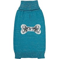 Zack & Zoey Elements Sequin Bone Sweater For Dogs, Blue, Medium