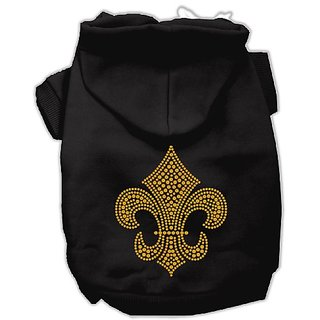Mirage Pet Products 20-Inch Gold Fleur De Lis Hoodie, 3X-Large, Black