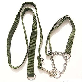 Petmuch 2.5cm Wide Olive Leash and Collar for Large and Medium Dogs