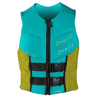 ONeill Wetsuits Wake Waterski Womens Outlaw Competition Life Vest, Aqua/Yellow/Graphite, 8