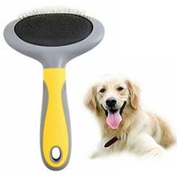 Slicker Brush For Dogs & Cats HYSJY Self-Cleaning Grooming Comb For Dematting Detangling & Deshedding, Pet Tool Fits Med