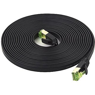 Cat7 STP Ethernet Cable 15ft Flat, iTLTL Shielded Stranded Copper Network Cable Slim Interenet Patch Wire for Modem/ Rou