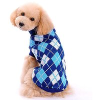 Bolbove Pet Argyle Knitted Turtleneck Sweater For Small Dogs & Cats Knitwear Cold Weather Outfit (Deep Blue, Large)