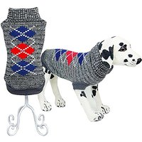 Bolbove Pet Classic Argyle Turtleneck Sweater For Small Dogs & Cats Knitwear (Grey, Large)