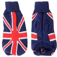 Uxcell Warm UK Flag Print Turtleneck Pet Dog Knitwear Sweater, Size 12, Blue
