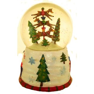 San Francisco Music Box Company - Reindeer Stackers Water Globe - Plays