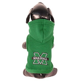 NCAA Marshall Thundering Herd Polar Fleece Hooded Dog Jacket, XX-Small