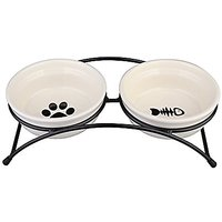 Buddys Best Pet Feeder For Dogs Classic Double Ceramic Dog Bowls And Cat Bowls, Elevated Dog Bowls Stand, Beige