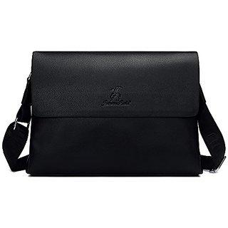 Unives Classic Mens Leather Briefcase for Business Classic Messenger Bag Lap top Bag Notebook Case School Bag Shoulder B