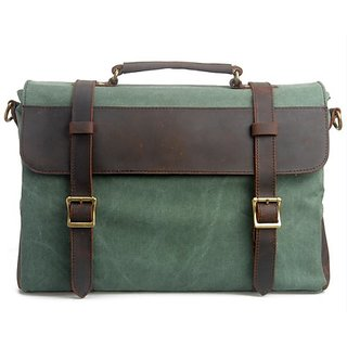 Hynes Eagle Vintage Canvas Leather Messenger Bags Briefcase