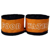 Dual Travel Dog Bowls By GoPets Collapsible Folding Pet Food & Water Bowl For Feeding Dogs & Cats When Traveling On The