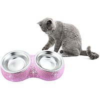 TASIRO Bling Bling Crystal Rhinestones Metal Stainless Steel Double Diner Pet Bowl / Pet Feeder For Small Pets, Puppy,Ca