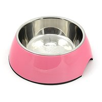 SUPER DESIGN Classic Removable Stainless Steel Pet Food And Water Bowl In Round Melamine Stand With Non-Skid Rubber Bott