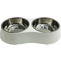 Pet Cuisine Double Stainless Steel Melamine Dog Bowl Non-skid Removable Drinking Feeding Food Dish