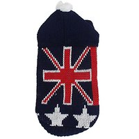 Uxcell XX-Small UK Flag Pattern Pet Dog Ribbed Cuff Knitwear Sweater, Size 6, Red/Blue