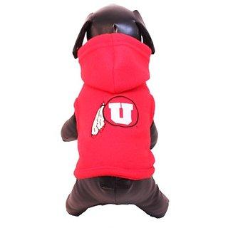 NCAA Utah Runnin Utes Polar Fleece Hooded Dog Jacket, X-Large