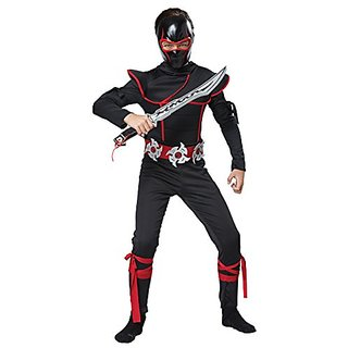 California Costumes Kids Stealth Ninja Costume with Mask & Sword, Black/Red, Large Plus