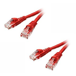 C&E 2 Pack Cat5e Ethernet Patch Cable, Snagless/Molded Boot 6 Feet Red, CNE497575
