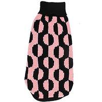 Uxcell XX-Small Circle Pattern Pet Dog Turtleneck Warm Knitwear Sweater, Size 6, Black/Pink