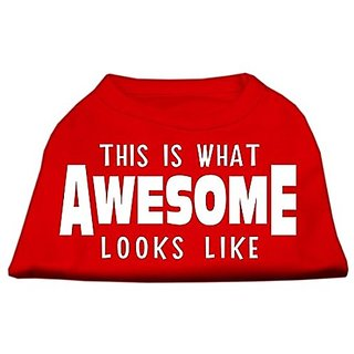 Mirage Pet Products This is What Awesome Looks Like Dog Shirt, Large, Red