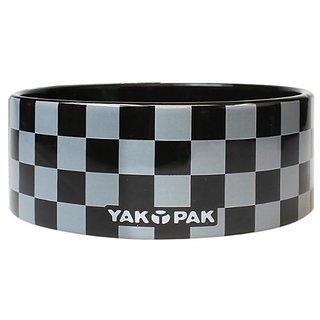 Yak Pak Grey Black Check Dog Bowl, 6-Inch