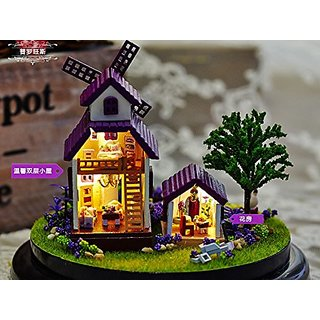 Ploy Provence Lavender Mini Princess Room Glass DIY Wooden Dollhouse Kit for Girls - DIY Assembling Model 4d Puzzle Home