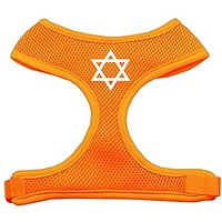 Mirage Pet Products Star Of David Screen Print Soft Mesh Dog Harnesses, X-Large, Orange