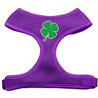 Mirage Pet Products Shamrock Screen Print Soft Mesh Dog Harnesses, Medium, Purple