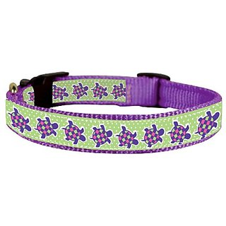 Perris Leather Purple Turtle Ribbon Nylon Dog Collar, Small