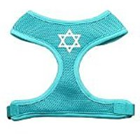 Mirage Pet Products Star Of David Screen Print Soft Mesh Dog Harnesses, Small, Aqua