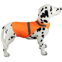 Mewowpet Adjustable Reflective Dog Vest Clothes For Large And Medium-Sized Dog(Fluorescent Orange,S)