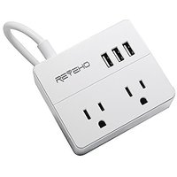 Power Strip For Travel, Reyeho 2 AC Outlet With 3 USB Travel Charging Station Smart Ports For IPhone, Laptop, Ipad And M