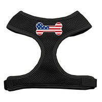 Mirage Pet Products Bone Flag USA Screen Print Soft Mesh Dog Harnesses, Large, Black