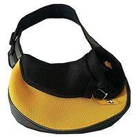 Outdoor Portable Travel Mesh Dog Cat Pet Single Shoulder Backpack Bag Carrier (Yellow)