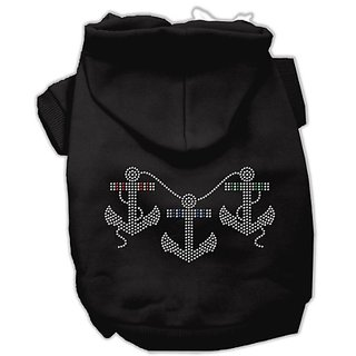 Mirage Pet Products 14-Inch Rhinestone Anchors Hoodies, Large, Black