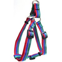 Hamilton Adjustable Easy On Medium Dog Harness With Reflective Threads, 5/8 By 12 To 20-Inch, Green/Blue/Red