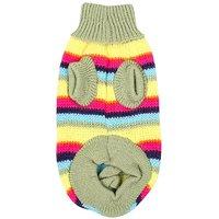Jardin Pet Knitwear Warm Turtleneck Striped Sweater, X-Small/Small/Medium/Large/X-Large, Green