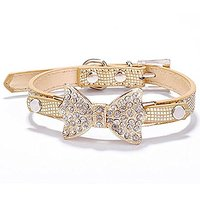 Pet Cat Dog Collar Bows Tie Dog Bling Rhinestone Jewelrys Necklace For Medium Or Large Dogs Cats With Adjustble Buckle C