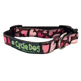 Recycled Dog Leash Narrow Width, Pink Hearts, Small