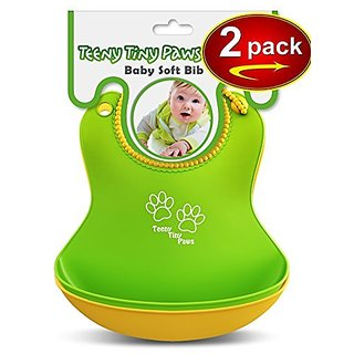 Food Catcher Soft Bib (2 pack Yellow/Green) Waterproof - GREAT GIFT FOR MOMS! - For Baby Girls and Boys - Bonus: FREE eB