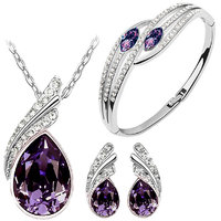 Purple Austrian Crystal Necklace Set Combo